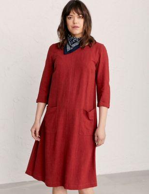 Linen Round Neck Midi Shift Dress