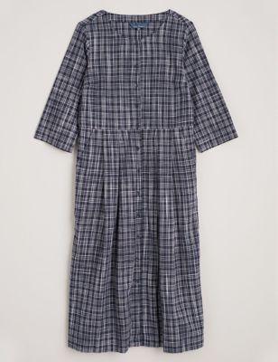 Pure Cotton Checked Midi Waisted Dress