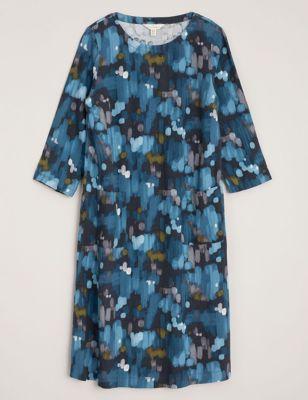 Linen Printed Round Neck Midi Shift Dress