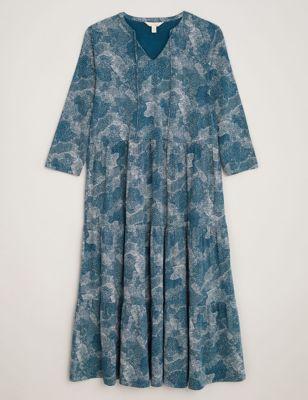 Pure Cotton Printed Midi Waisted Dress
