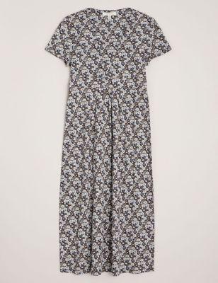 Organic Cotton Floral Midi Waisted Dress