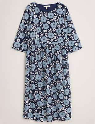 Cotton Floral Midi Waisted Dress