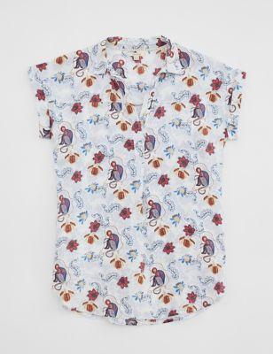 Pure Linen Printed Short Sleeve Tunics