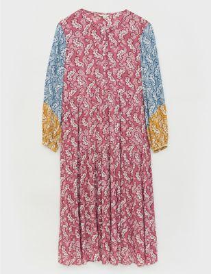 Floral Round Neck Midi Smock Dress
