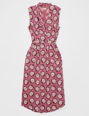 Floral V-Neck Sleeveless Midi Tea Dress