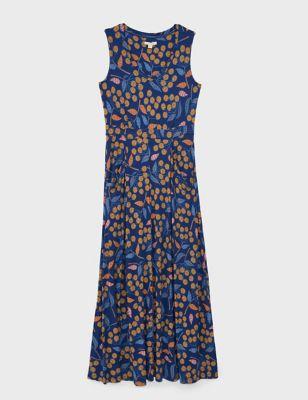 Jersey Floral V-Neck Maxi Waisted Dress