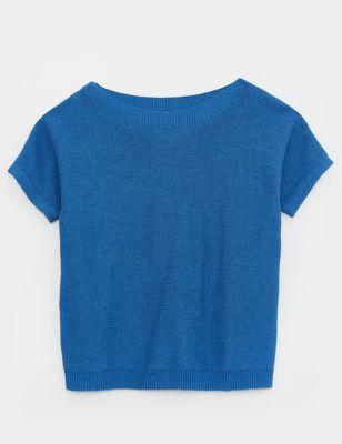 Cotton Knitted Short Sleeve Jumper