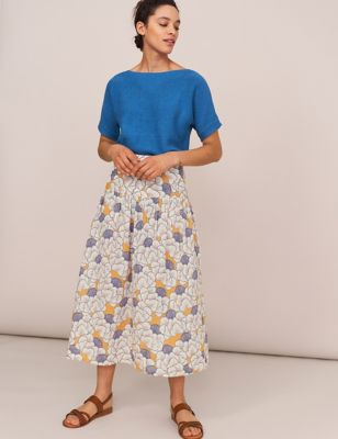 Pure Cotton Floral Midi A-Line Skirt