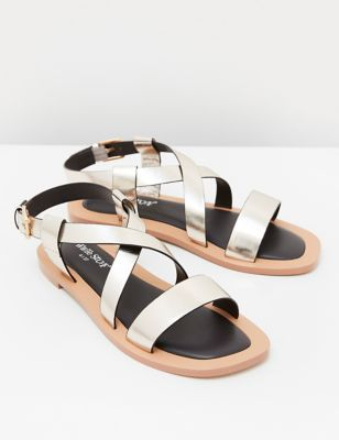 Leather Metallic Ankle Strap Flat Sandals