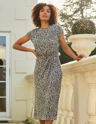 Jersey Animal Print Midaxi T-Shirt Dress