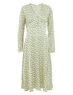 Printed V-Neck Button Detail Midi Tea Dress
