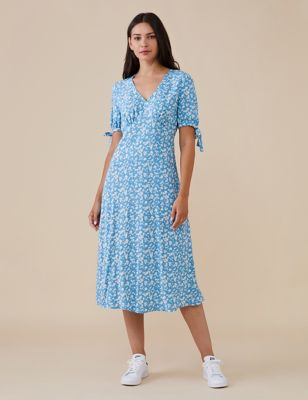 Floral V-Neck Tie Sleeve Midi Tea Dress