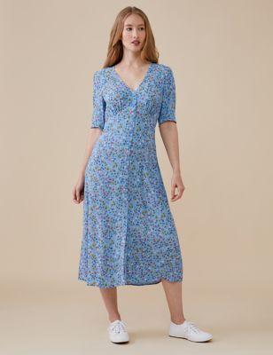 Floral V-Neck Short Sleeve Midi Tea Dress