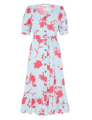 Cotton Floral Belted Midi Waisted Dress