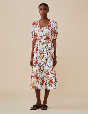 Cotton Floral Round Neck Midi Waisted Dress