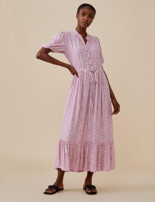 Floral V-Neck Midi Tea Dress