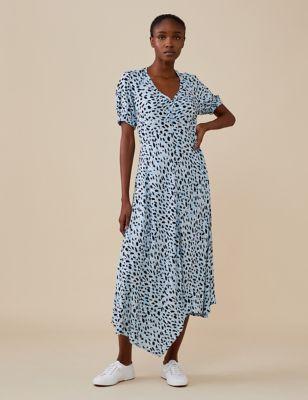 Animal Print V-Neck Midi Swing Dress