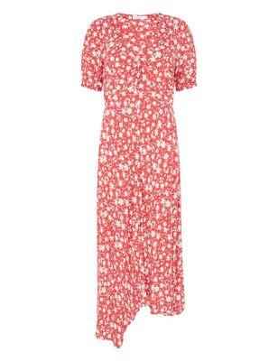 Floral V-Neck Midi Swing Dress