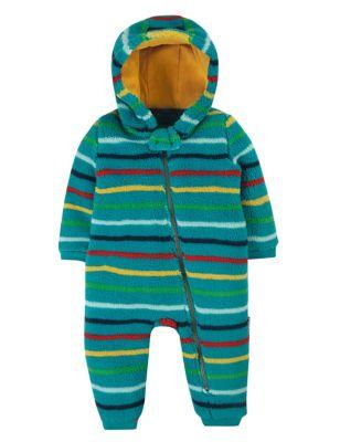 Fleece Hooded Striped Pramsuit (0 -4 Yrs)