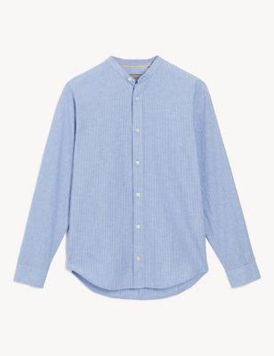 Cotton Linen Blend Striped Shirt