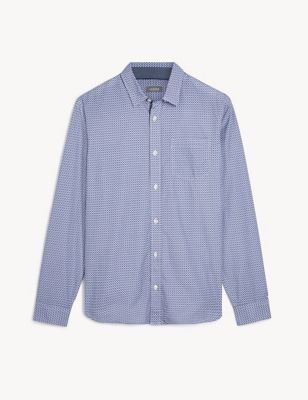 Regular Fit Pure Cotton Geometric Shirt