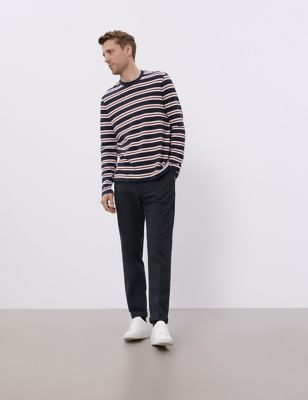 Regular Fit Cotton Flat Front Trousers