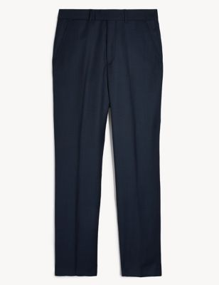 Regular Fit Pure Wool Textured Trousers