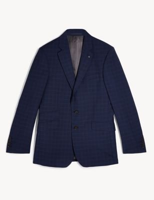 Regular Fit Pure Wool Check Jacket