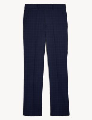Regular Fit Pure Wool Check Trousers