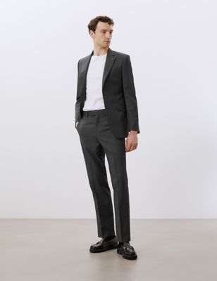 Regular Fit Pure Wool Flat Front Trousers