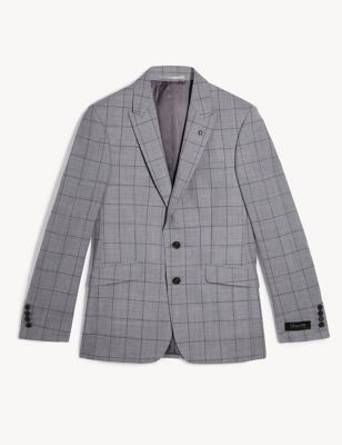 Slim Fit Pure Wool Check Jacket