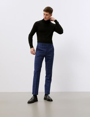Slim Fit Pure Wool Check Trousers