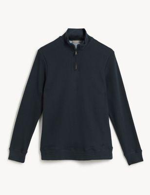 Pure Cotton Jersey Half-Zip Sweatshirt