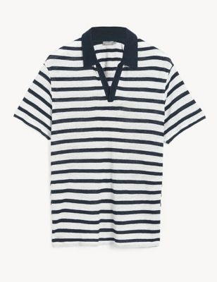 Pure Linen Striped Polo Shirt