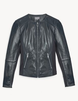 Leather Collarless Biker Jacket