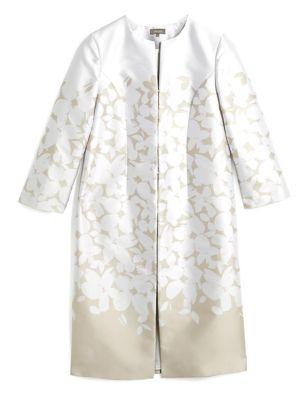 Floral Jacquard Collarless Coat