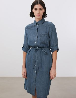 Tencel™ Tie Front Knee Length Shirt Dress