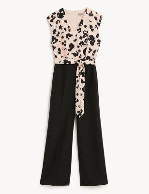 Crepe Animal Print Sleeveless Jumpsuit