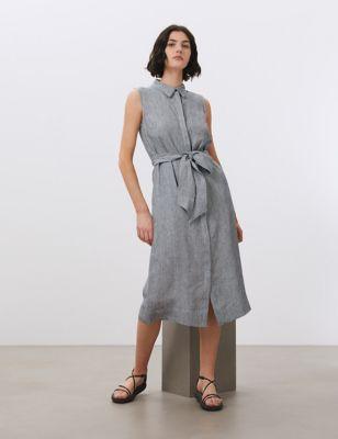 Pure Linen Striped Belted Midi Shirt Dress
