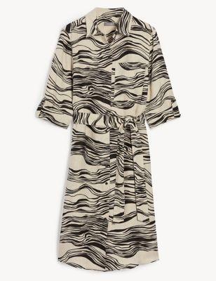 Pure Linen Printed Knee Length Shirt Dress