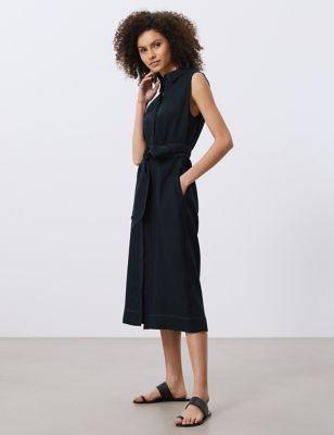 Pure Linen Belted Midi Shirt Dress