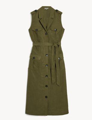 Tencel™ Tie Front Midi Shirt Dress