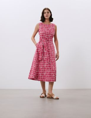 Pure Linen Printed Belted Midi Swing Dress