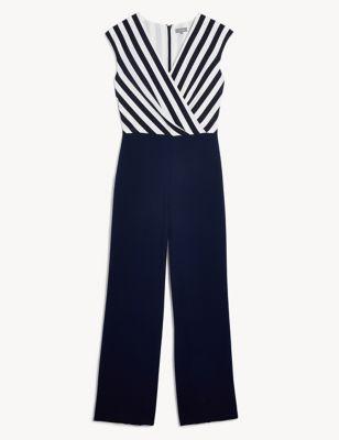 Silk Striped Sleeveless Wrap Jumpsuit