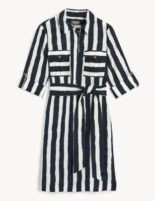 Pure Linen Striped Belted Dress