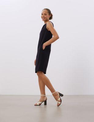 Crepe Sleeveless Midi Shift Dress