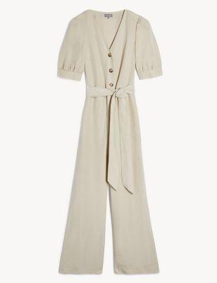 Tencel™ Belted Short Sleeve Jumpsuit