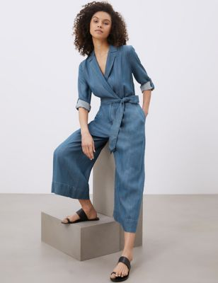 Pure Tencel™ Belted 3/4 Sleeve Jumpsuit