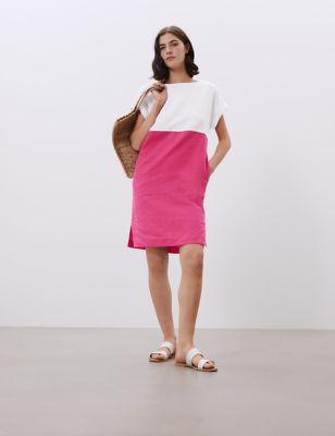 Pure Linen Colour Block Shift Dress