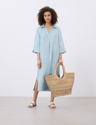 Pure Linen V-Neck Maxi Smock Dress